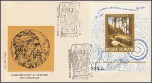 1975 Rumänien 3273 Block 121 Denkmalschutzjahr Ausgrabungstätte, auf FDC