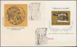 1975 Rumänien 3274 Block 122 Denkmalschutzjahr Wölfin, auf FDC
