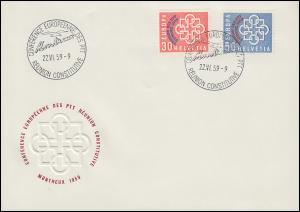 1959 Schweiz 681/82 PTT-Konferenz in Montreux, Satz mit Zudruck REUNION auf FDC