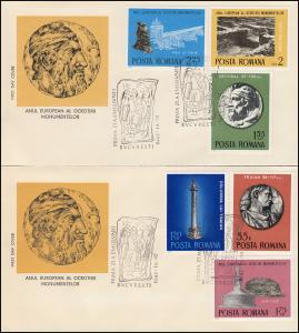 1975 Rumänien 3267-3272 Denkmalschutzjahr, Satz auf FDC