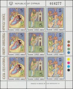 Zypern (griechisch) 780-782 Weihnachten 1991, Zusammendruck-Kleinbogen, **