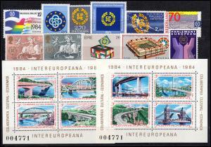 Europa Sympathieausgaben/Mitläufer Jahrgang 1984 komplett, ** postfrisch