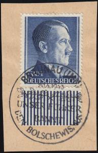 802 A Hitler 5 Mark mit Unterrand Briefstück SSt BRAUNAU Unser F... 20.4.43