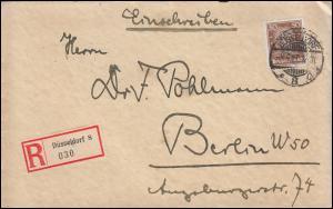 396 Berühmte Deutsche Bach als EF auf R-Brief DÜSSELDORF 5.5.27 nach BERLIN 6.5.