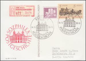 P 93 Sozphilex mit Zusatzfr. und Sonder-R-Zettel, passender SSt BERLIN 4.10.85