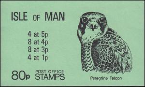 Isle of Man Markenheftchen 8 Falke, Freimarken Wappen 80 Pence ** postfrisch