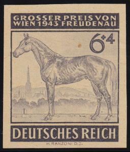 857P Galopprennen 6 Pf. geschnitten, auf dünnem, gelblichen Kunstdruckpapier (*)