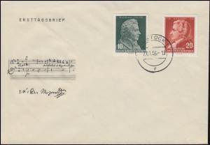 510-511 Komponist Wolfgang Amadeus Mozart auf Schmuck-FDC ET-O ROSTOCK 27.1.56
