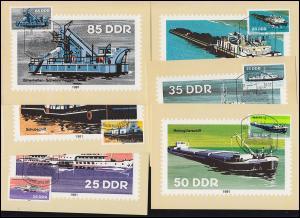 2651-2656 Binnenschiffe, Satz auf 6 Wermsdorf-MK ESSt BERLIN 20.10.1981
