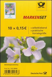 FB 82 Blume Wiesenschaumkraut 15 Cent, Folienblatt mit 10x 3431, postfrisch **