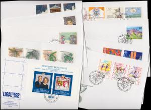 1033-1053 Liechtenstein-Jahrgang 1992 komplett auf FDC mit ESSt Vaduz
