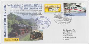 Bahnpostbeleg 125 Jahre Gotthard-Bahn Sonderfahrt SSt Stuttgart 7.9.2007