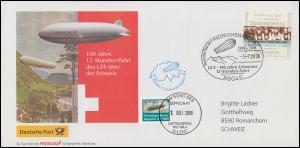Zeppelin NT 12-Stunden-Fahrt des LZ4 über der Schweiz SSt FRIEDRICHSHAFEN 1.7.08