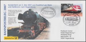Bahnpostbeleg Sonderfahrt Postschnellzug nach Regensburg SSt FRANKFURT/M. 5.5.07