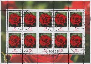 2669 Blume Gartenrose 55 Cent - Kleinbogen Tagesstempel BERLIN 4.9.08