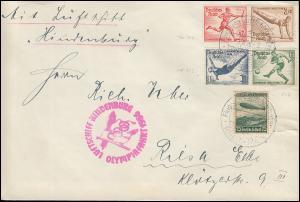 Dt. Reich Luftschiff Hindenburg Olympiafahrt mit Olympia-ZD, Frankfurt 1.8.36