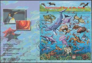 UNO New York 771-782 Jahr des Ozeans - Kleinbogen auf Schmuck-FDC 20.5.1998