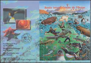 UNO Genf 334-345 Jahr des Ozeans - Kleinbogen auf Schmuck-FDC 20.5.1998