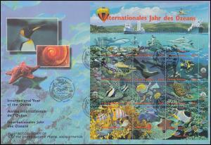 UNO Wien 252-263 Jahr des Ozeans - Kleinbogen auf Schmuck-FDC 20.5.1998