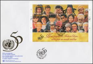 UNO Genf 50 Jahre UNO 273-284 als Kleinbogen auf 2 Schmuck-FDC 24.10.1995