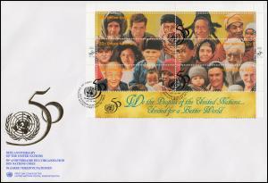 UNO New York 50 Jahre UNO 273-284 als Kleinbogen auf 2 Schmuck-FDC 24.10.1995