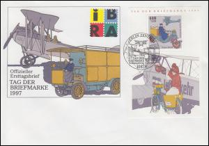 Block 41 Tag der Briefmarke Posttransport Schmuck-FDC ESSt BERLIN 17.9.1997