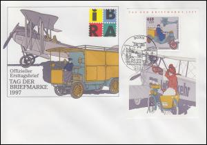 Block 41 Tag der Briefmarke Posttransport Schmuck-FDC ESSt BONN 17.9.1997
