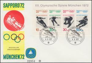 Block 6 Olympiade 1972 auf Sporthilfe-FDC mit ESSt München 4.6.1971