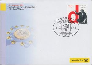 Euro-Einführung: SSt Bonn 31.12.01 Verkaufsende für Marken mit reinen Pf-Werten