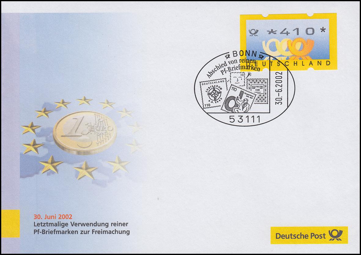 Euro-Einführung: SSt Bonn 30.6.02 Abschied von reinen Pf-Briefmarken, ATM 410 Pf 0