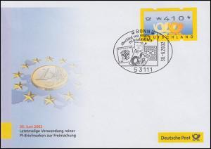 Euro-Einführung: SSt Bonn 30.6.02 Abschied von reinen Pf-Briefmarken, ATM 410 Pf