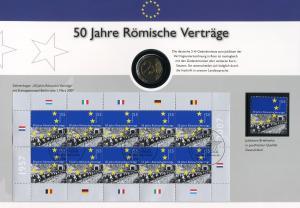 Dokumentation: 50 Jahre Römische Verträge mit Marke und ZB 2593 und 2-Euro-Münze