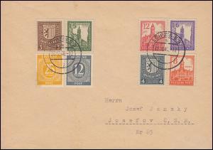 156-161x Freimarken mit Zusatzfr. Auslandsbrief LEIPZIG 28.10.46, BPP-geprüft