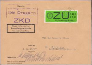 Dienst E 2y Zustellungsurkunde EF ZKD-Brief DRESDEN 9.3.67, geprüft GERHARDT BPP