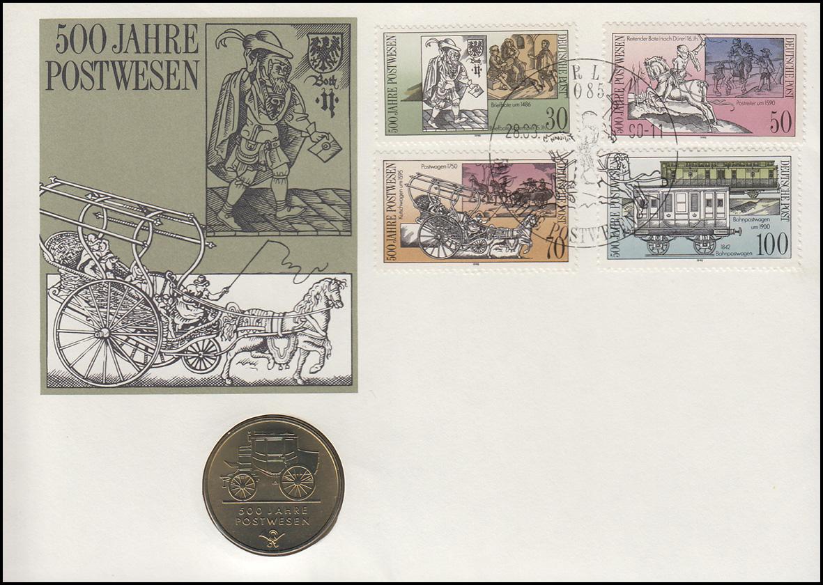 DDR-Numisbrief 500 Jahre Post 5-Mark-Gedenkmünze ESSt Berlin 28.3.90 0