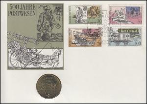DDR-Numisbrief 500 Jahre Post 5-Mark-Gedenkmünze ESSt Berlin 28.3.90