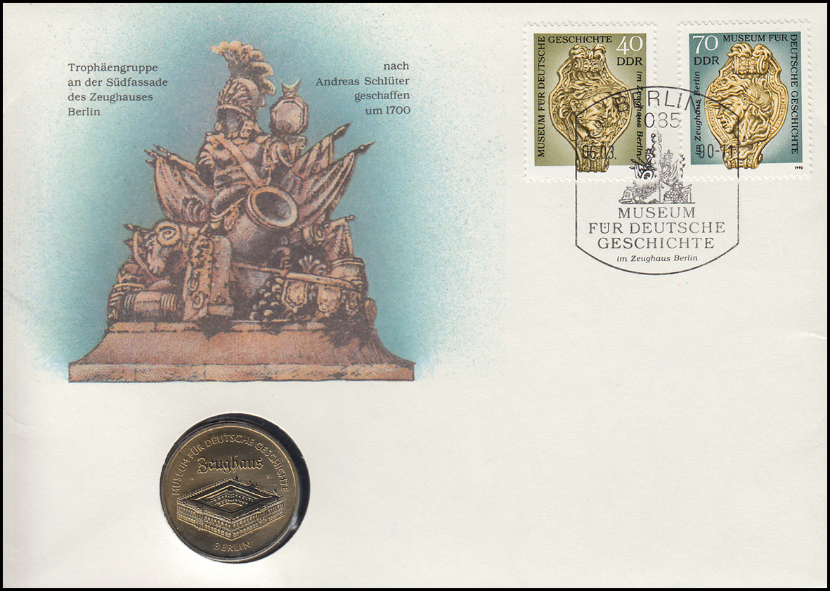 DDR-Numisbrief Zeughaus Berlin 5-Mark-Gedenkmünze ESSt Berlin 6.3.90 0