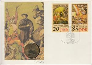 DDR-Numisbrief Thomas Müntzer 20+35 Pf. 5-Mark-Gedenkmünze Zwickau ESSt 22.8.89