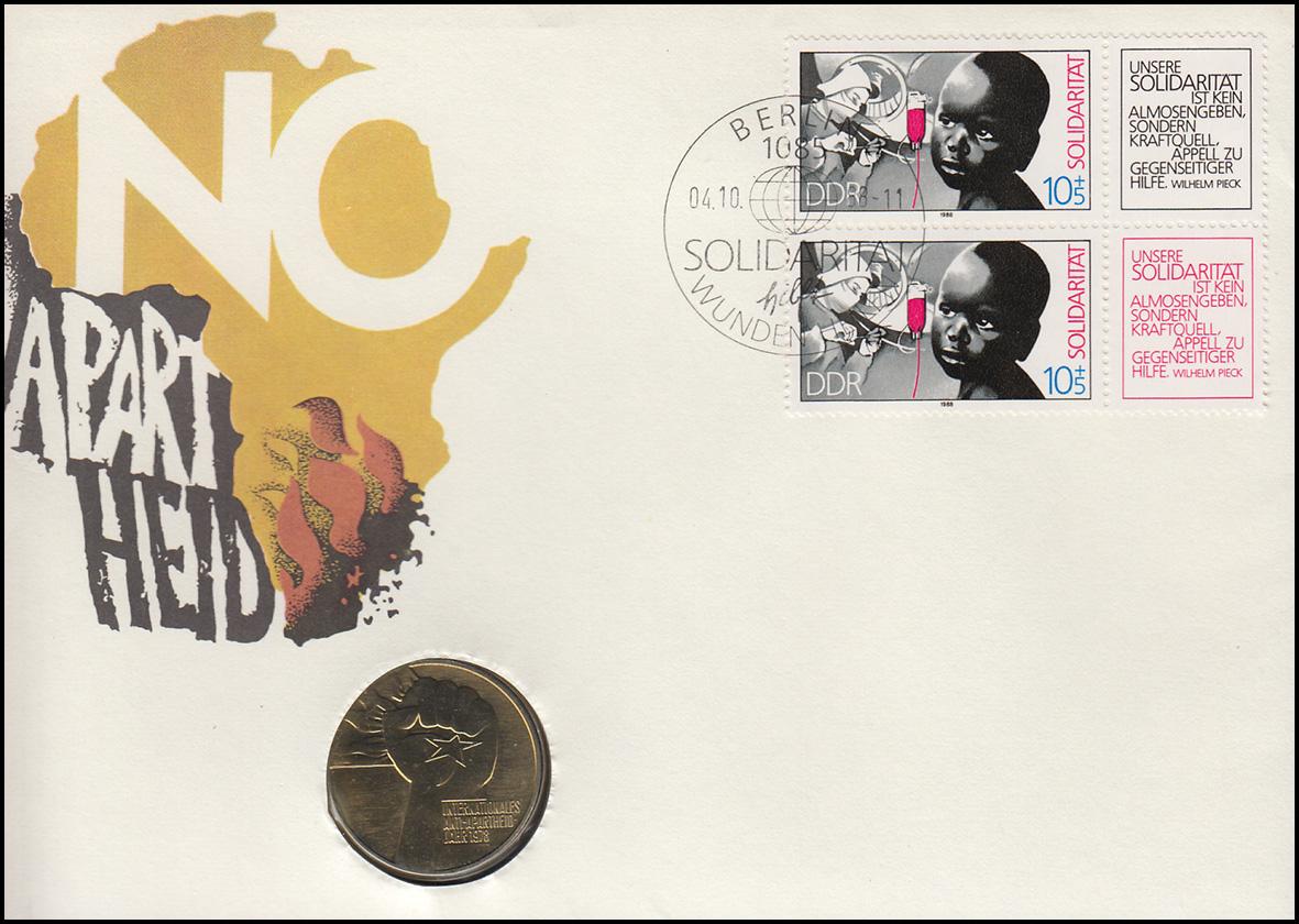 DDR-Numisbrief Solidarität Antiapartheid 5-Mark-Gedenkmünze ESSt 1988 schwarz 0