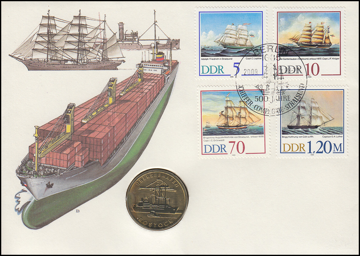 DDR-Numisbrief Überseehafen Rostock 5-Mark-Gedenkmünze ESSt 1988 0