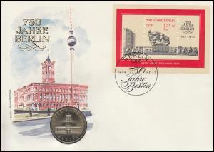 DDR-Numisbrief 750 Jahre Berlin Rotes Rathaus 5-M-Gedenkmünze, Block 89 FDC 1987