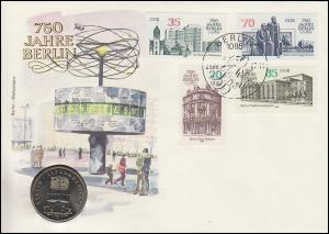 DDR-Numisbrief 750 Jahre Berlin Alexanderplatz 5-Mark-Gedenkmünze SSt 1987