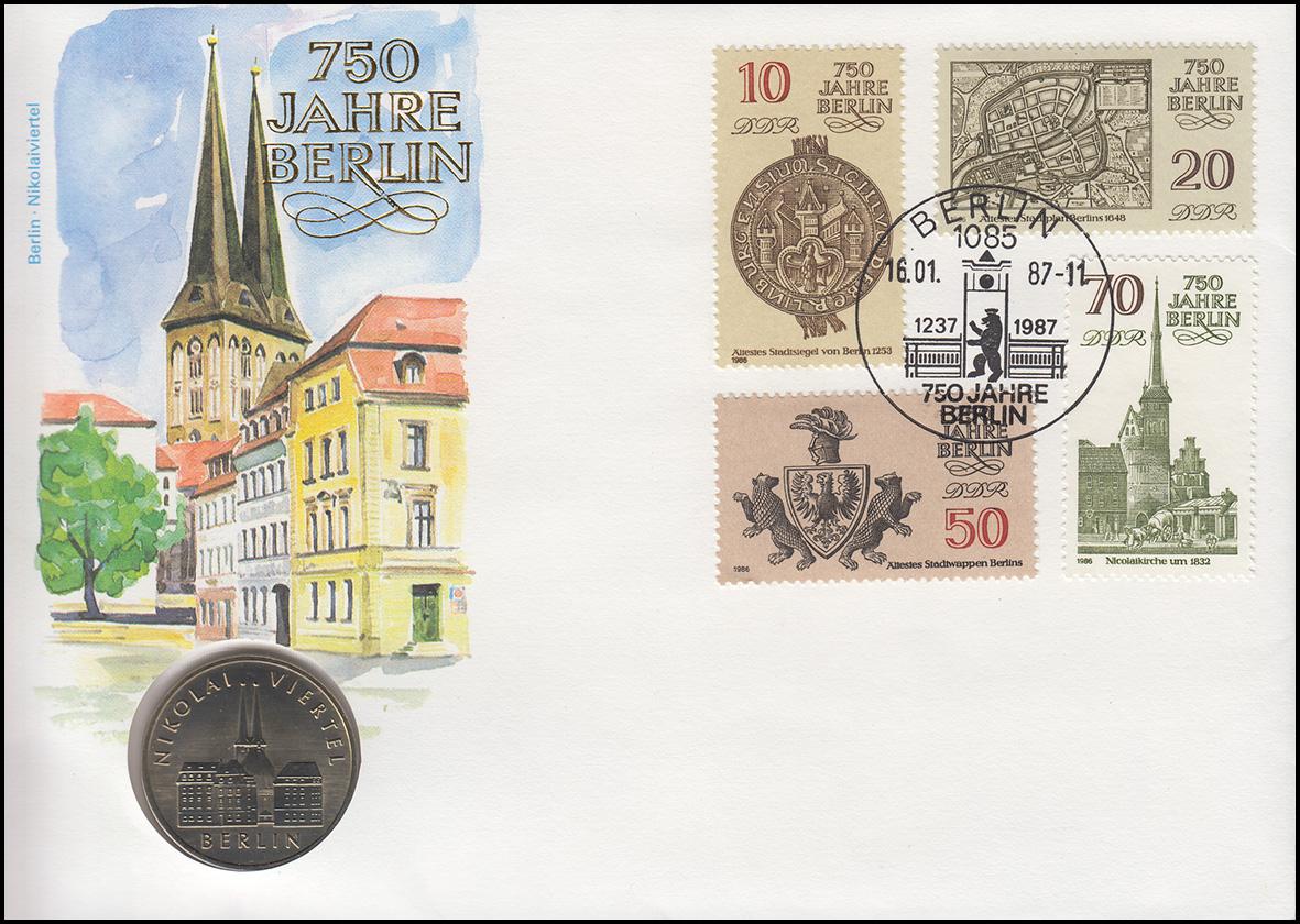 DDR-Numisbrief 750 Jahre Berlin Nikoleiviertel 5-Mark-Gedenkmünze SSt 16.1.1987 0