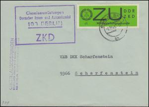 Dienst E 2 Zustellungsurkunde ZKD-Brief BERLIN 8.10.65 nach SCHARFENSTEIN 9.10.