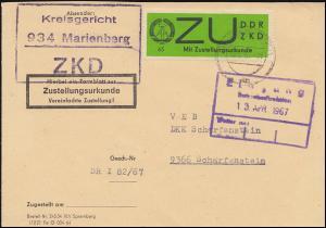 Dienst E 2 Zustellungsurkunde ZKD-Brief Kreisgericht MARIENBERG 12.4.67