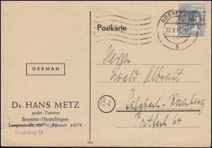 40I Bandaufdruck 12 Pf.als EF auf Postkarte BREMEN 7.8.1948 nach Sulzbach