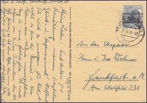 40I Bandaufdruck 12 Pf. EF auf Postkarte DUISBURG 1 - 24.6.1948 nach Frankfurt