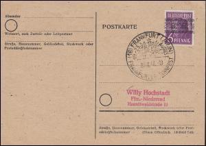 37I Bandaufdruck 6 Pf. EF als Drucksache, SSt FRANKFURT/MAIN Turnfest 22.8.1948