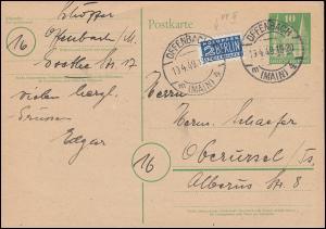 Postkarte 2I Holstentor Lübeck mit Notopfer 2 mit PLF III, OFFENBACH 19.4.1949