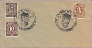 Blanko-Brief mit SSt MÜNCHEN EXPORTSCHAU 18.9.46 mit 918 Farbvarianten
